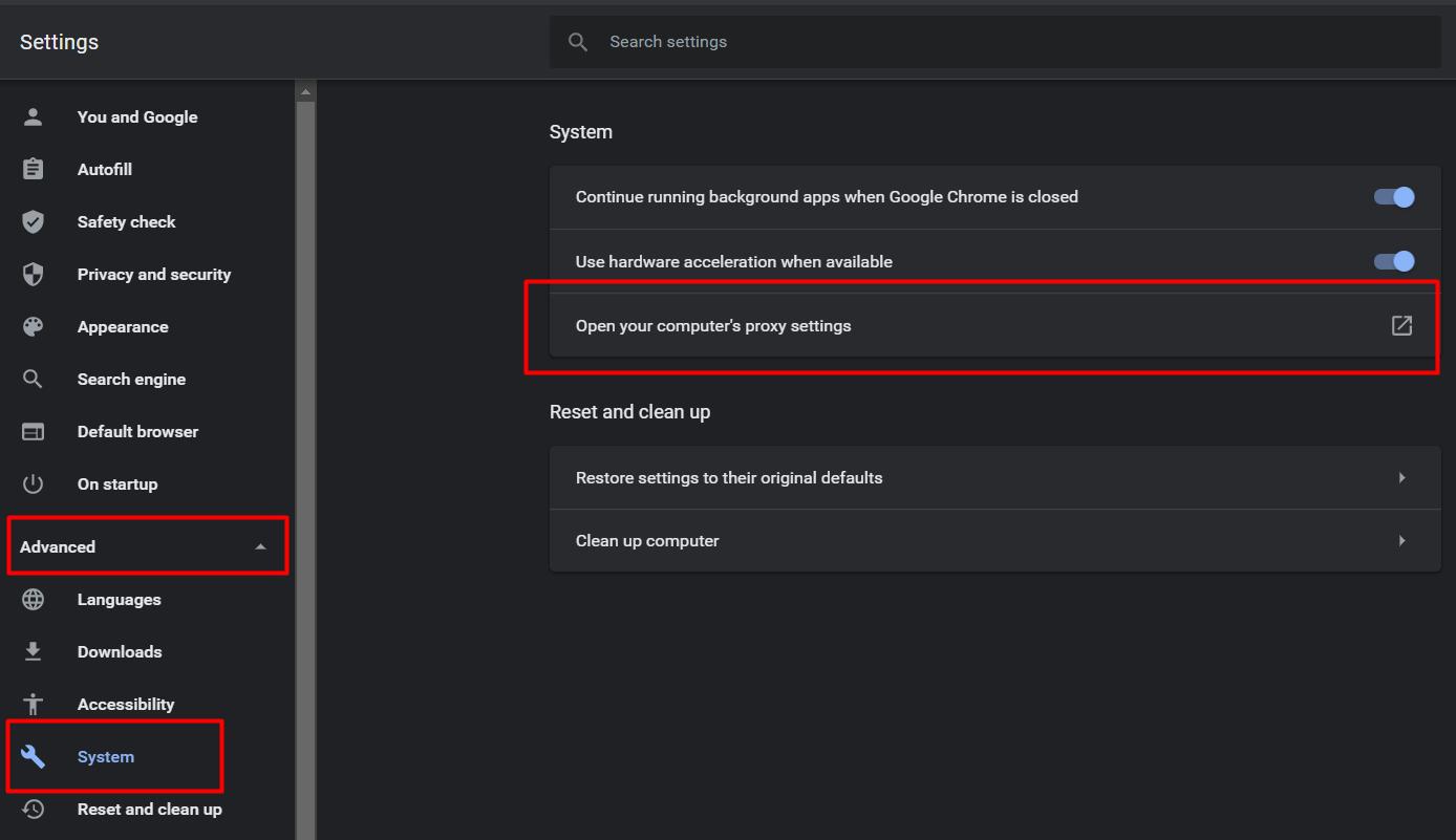 langkah kedua cara setting proxy google chrome