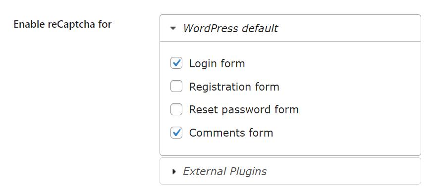 cara memasang captcha google di wordpress pilih form captcha