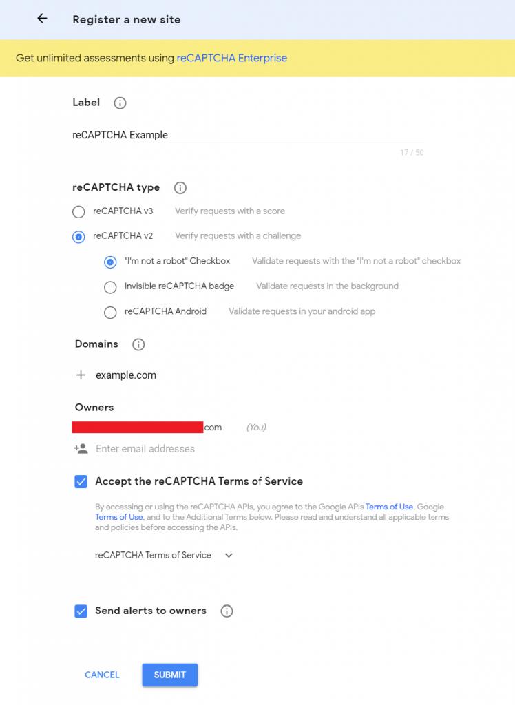 cara membuat captcha google daftar domain baru