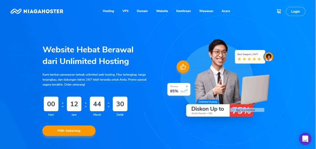 landing page Niagahoster