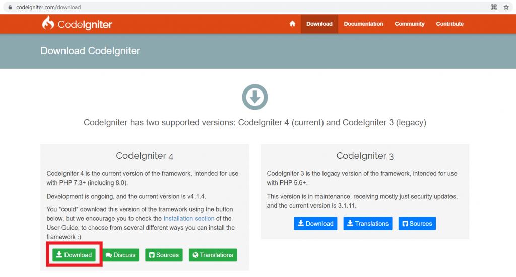 download CodeIgniter 4 dari website resmi CodeIgniter