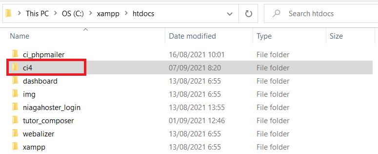 ekstrak file zip CodeIgniter di htdocs