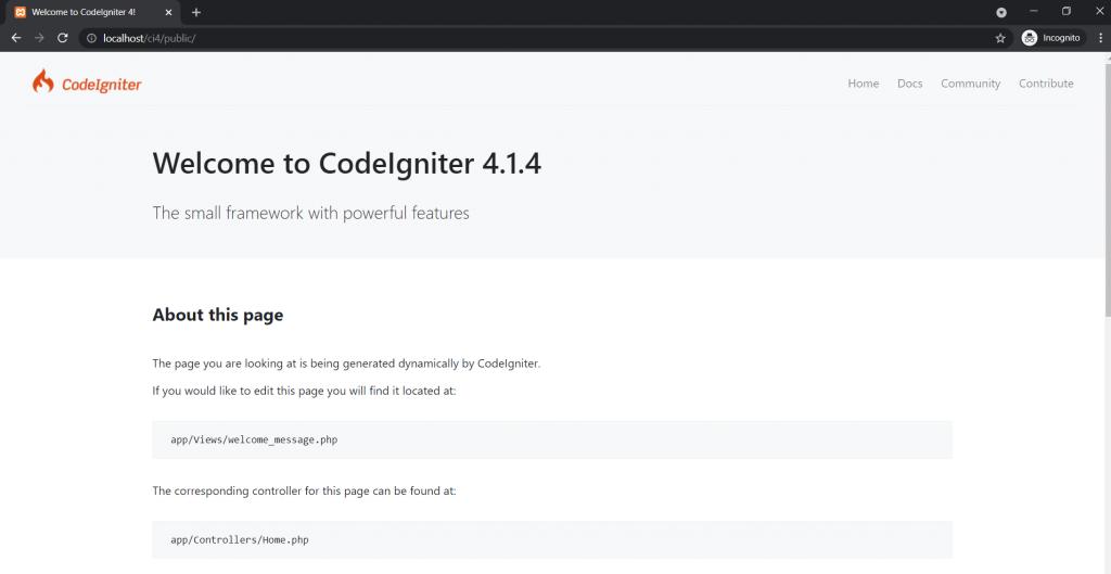 tampilan awal CodeIgniter