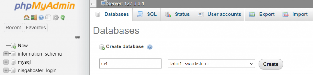 membuat database baru di phpMyAdmin
