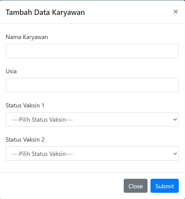 modal untuk menambahkan data
