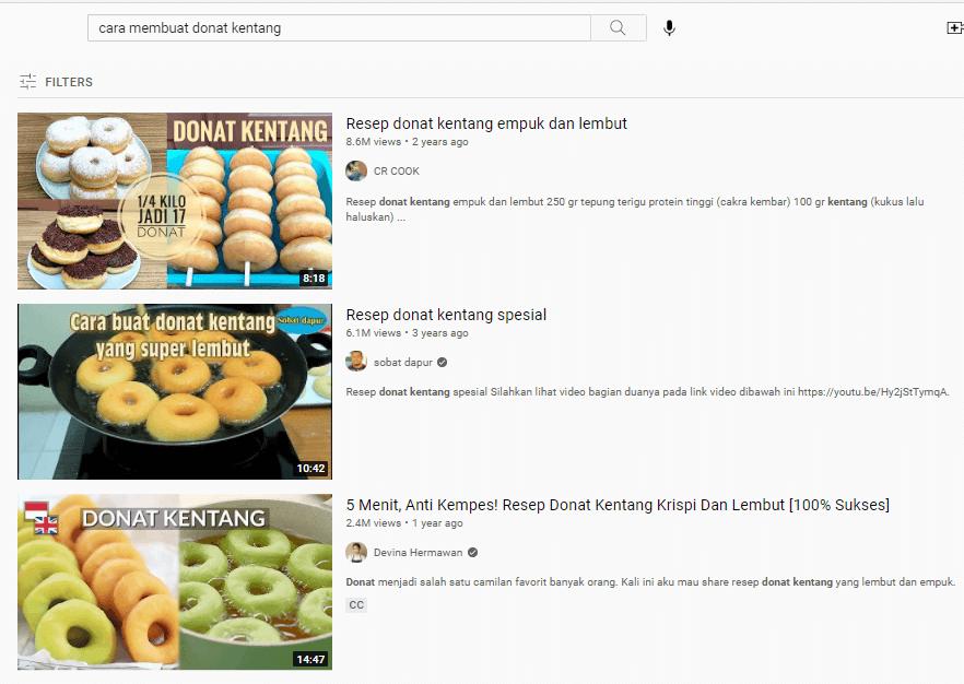 Video dengan Keyword YouTube Cara Membuat Donat Kentang