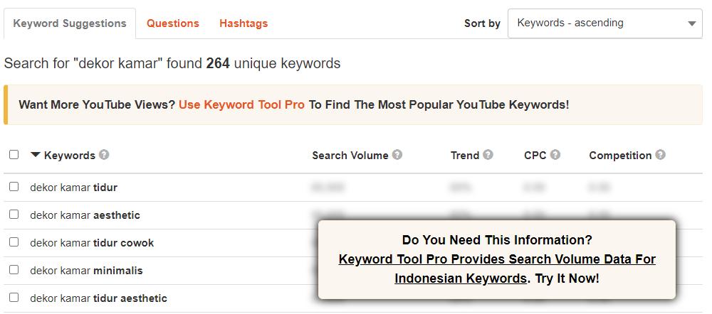 Hasil Riset Keyword dari KeywordTool.io