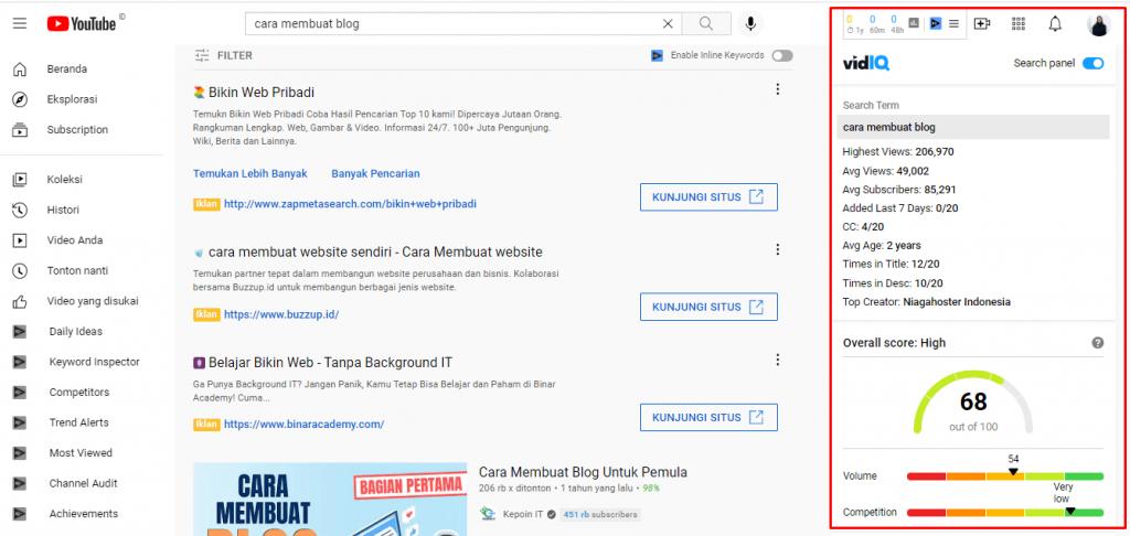 Tampilan Vidiq pada YouTube