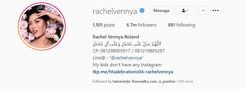Influencer Rachel Vennya