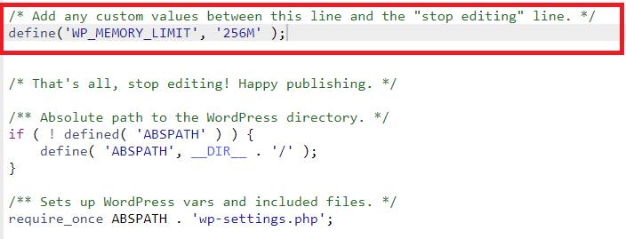 menambahkan memori limit di file wp-config.php untuk mengatasi php fatal error: allowed memory size of 134217728 bytes exhausted