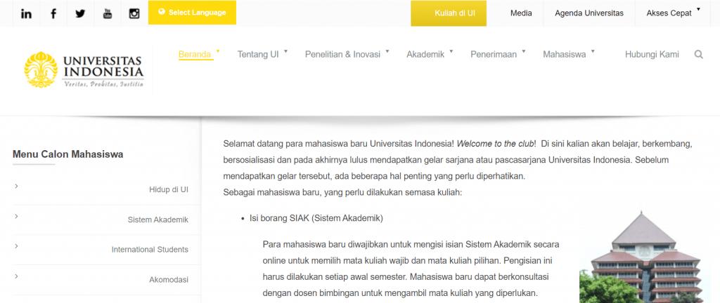 halaman utama website ui