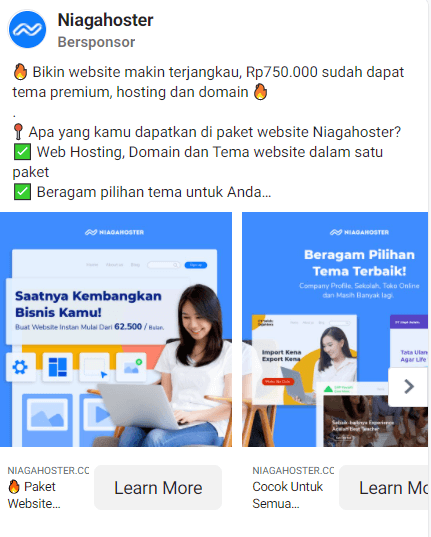 Contoh Facebook carousel ads