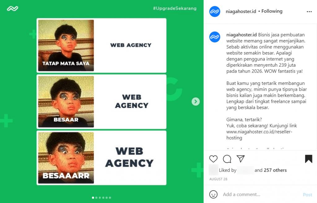 Contoh carousel Instagram dengan visual menarik