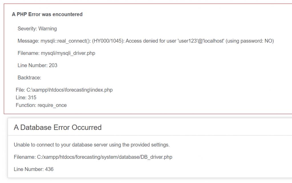 a database error occurred codeigniter access denied