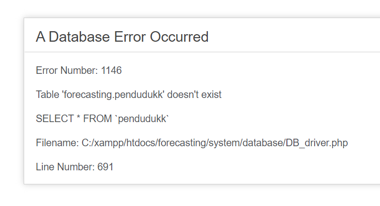 a database error occurred codeigniter table doesnt exist