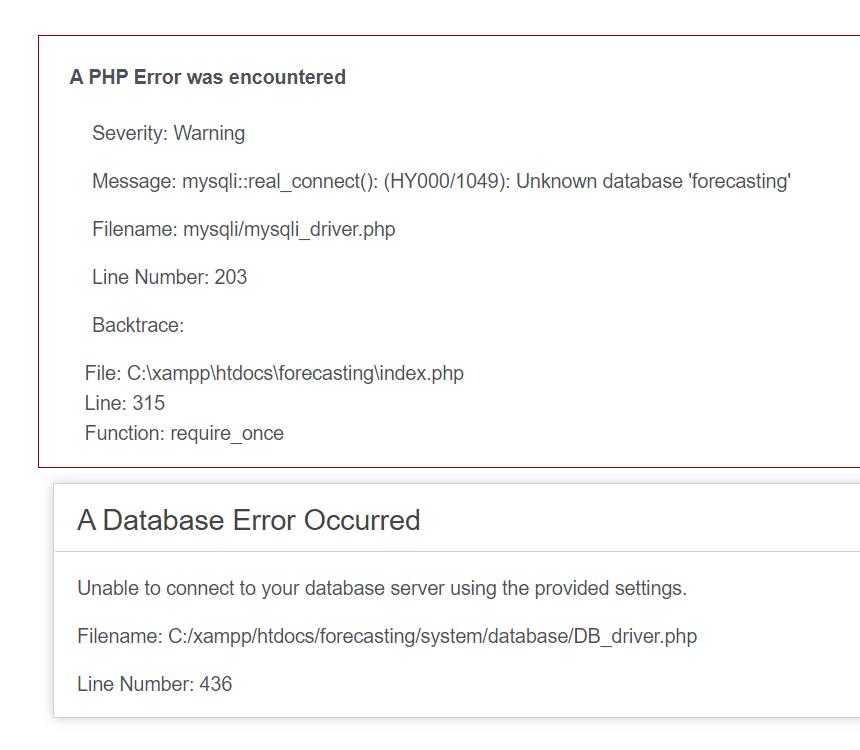 a database error occurred codeigniter unknown database