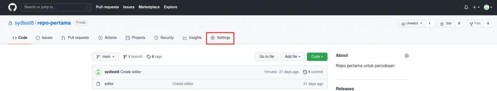 Tab Settings di repositori GitHub