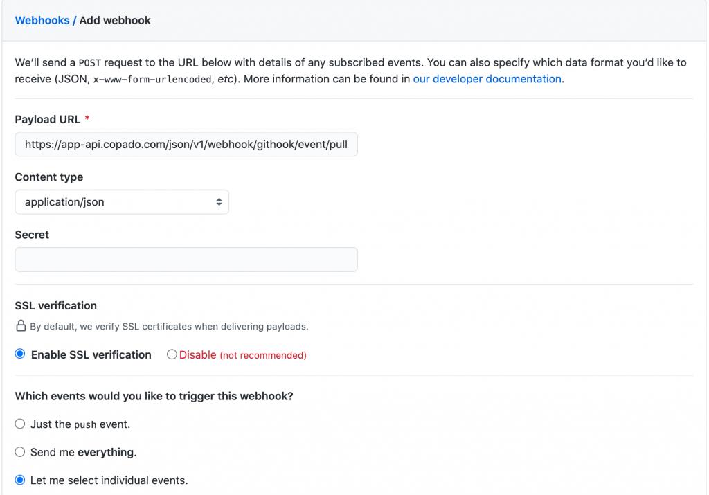 Kolom informasi konfigurasi webhook antara GitHub dan Copado
