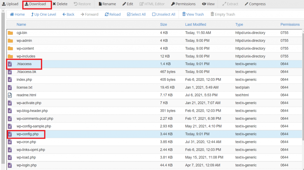 backup file wp-config.php dan .htaccess