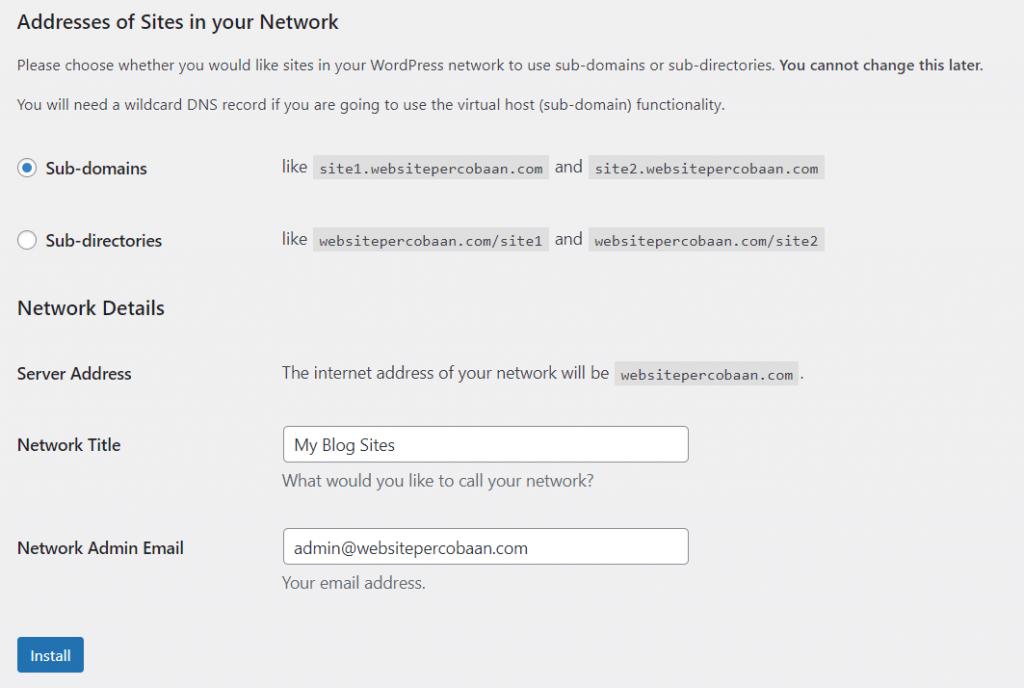 memilih subdomain saat menginstall network wordpress multisite