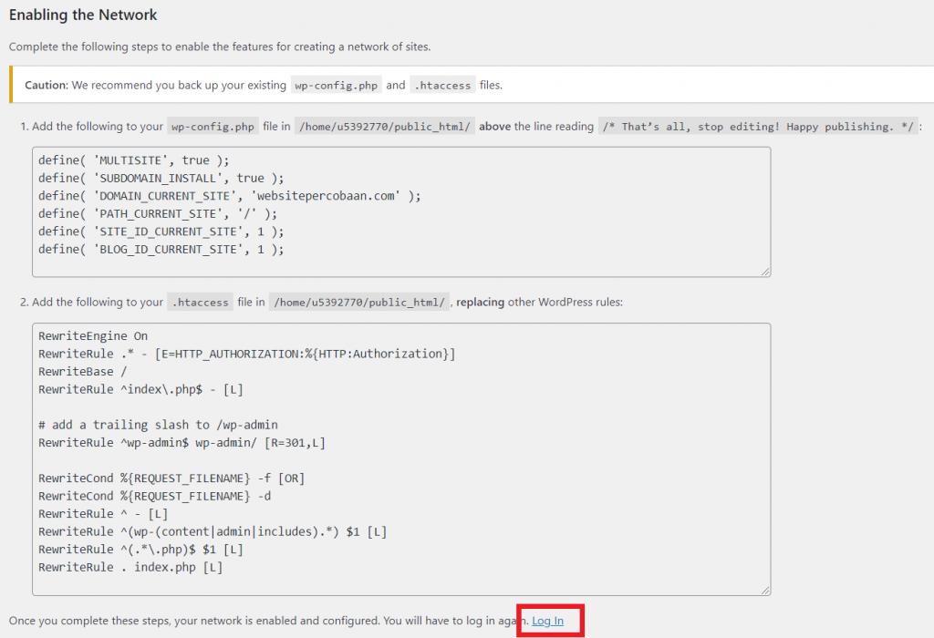 kode konfigurasi multisite subdomain