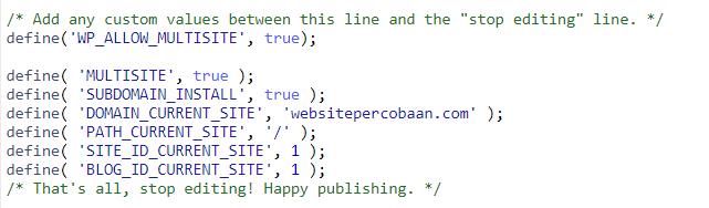 memperbarui file wp-coonfig.php
