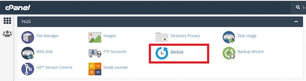 Mengakses menu backup