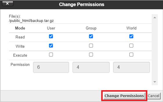 mengubah izin akses file backup