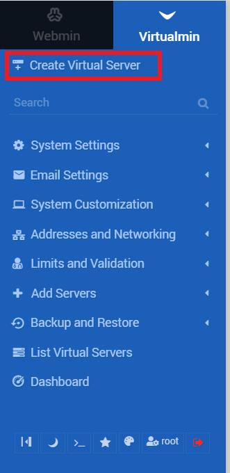 mengakses menu create virtual server sebagai langkah migrasi website ke vps