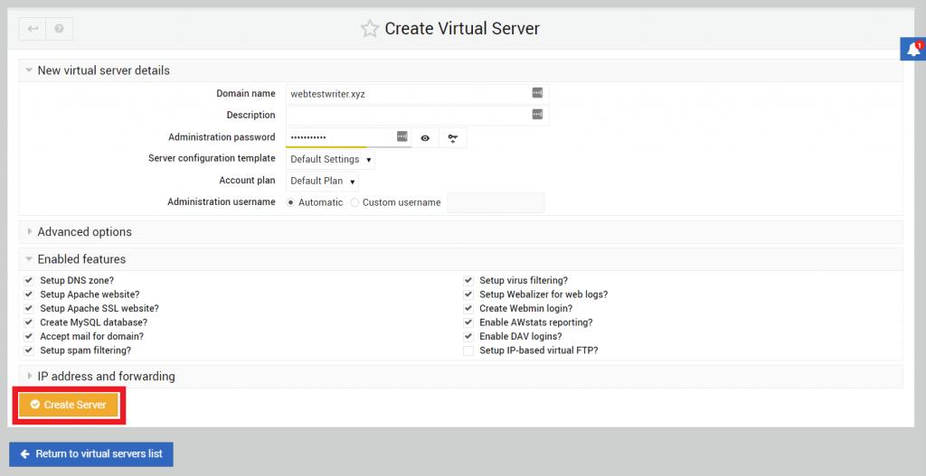 membuat server virtual