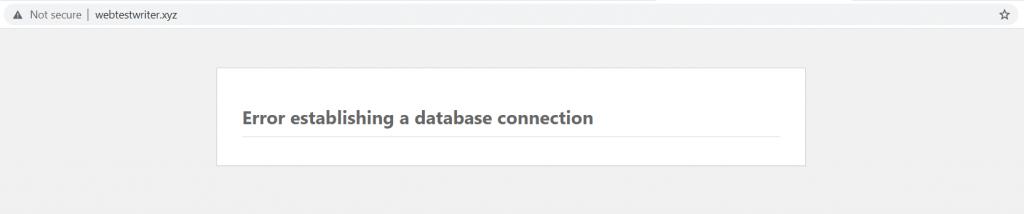 error establishing a database connection yang akan ditemui dalam langkah migrasi website ke vps