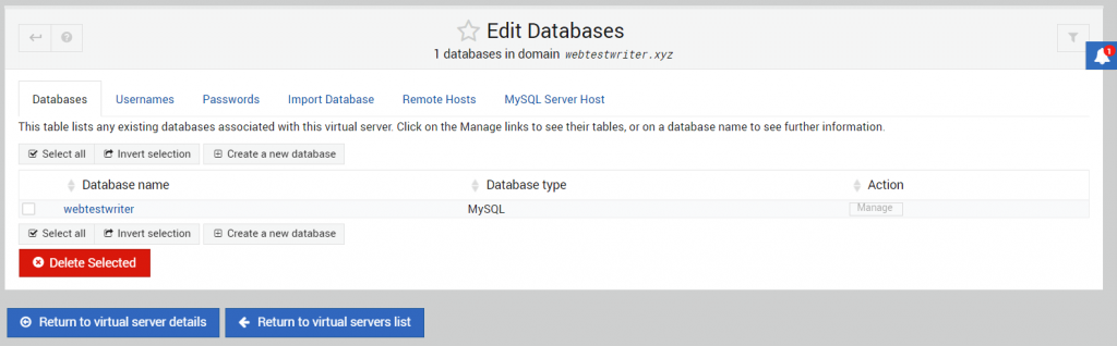 mengecek database di virtualmin