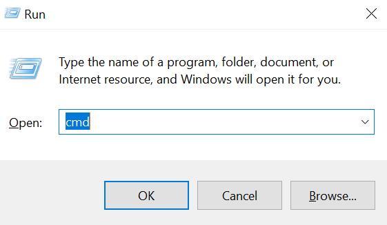 buka command prompt untuk cek ip address