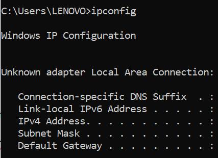 hasil ip address di command prompt
