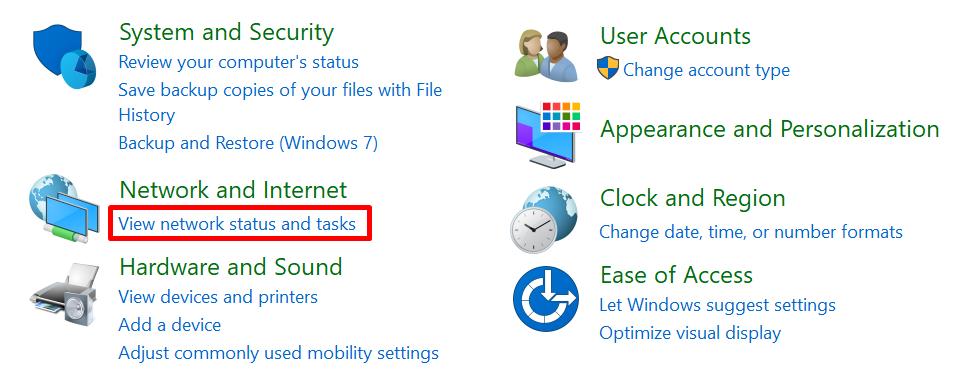 view network status untuk cek ip address