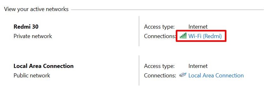 klik koneksi aktif