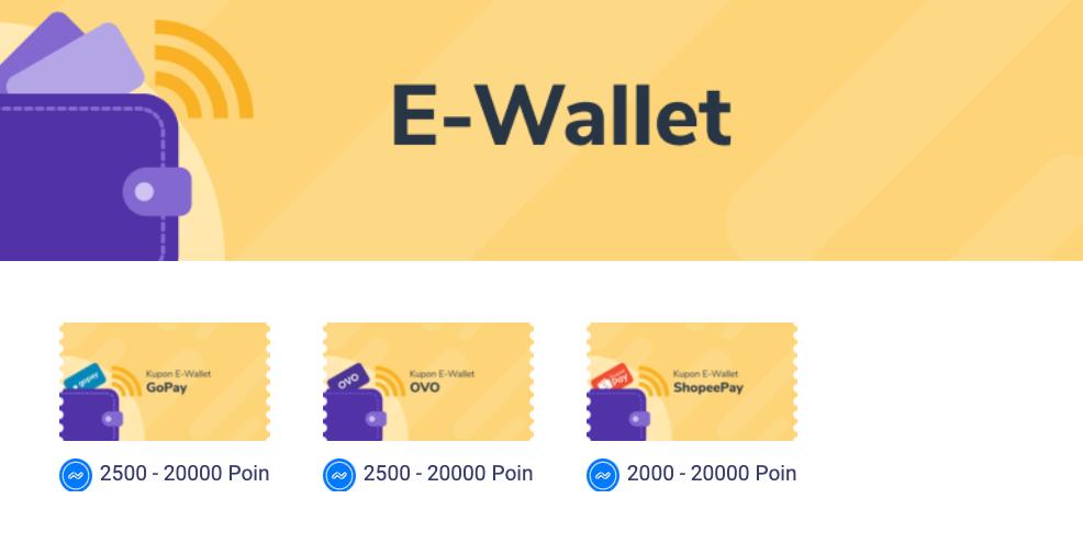 Tampilan halaman penukaran poin dengan e-Wallet