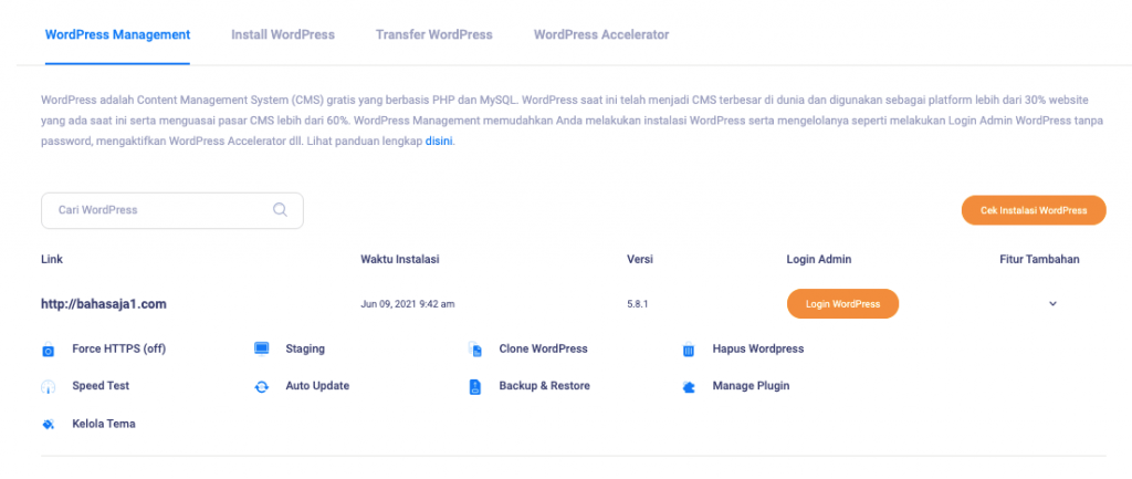 Halaman fitur kelola tema dan plugin di WordPress Management