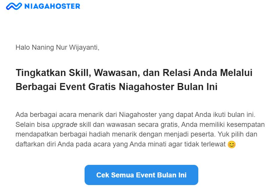 contoh personalisasi marketing dengan menyebut nama pada blast email marketing
