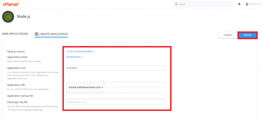 mengisi detail aplikasi node js