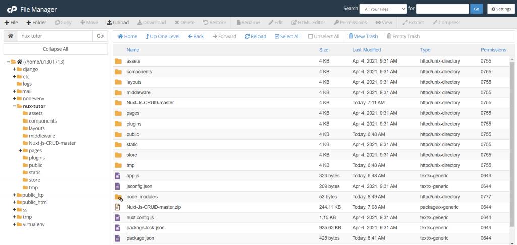 upload sourcecode di folder aplikasi node.js