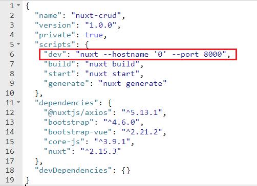 mengganti port nuxtjs pada package.json